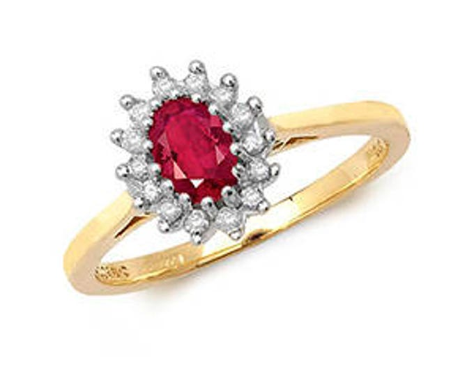 Diamond & Oval Ruby Yellow Gold Engagement Wedding Ring Diamond Cluster Ring- Ideal For : Her- Mom- Engagement- Birthday or just for you