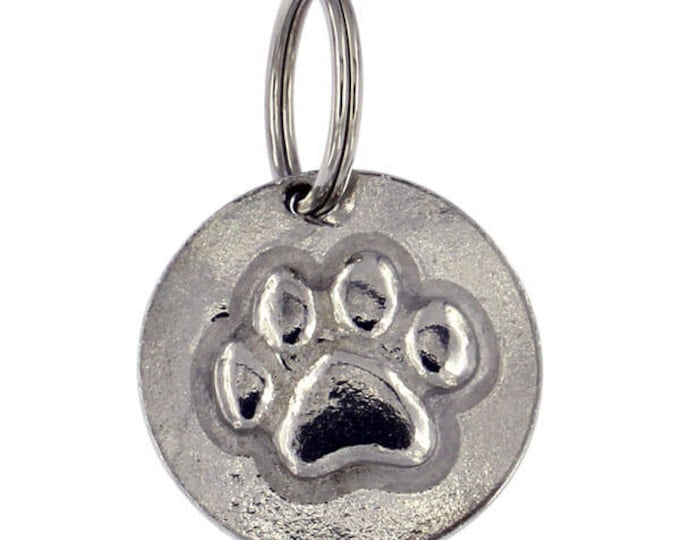 Dog Pet Tag Personalised Dog ID Solid Pewter Paw Dog Tag – print design- Made and Design in UK