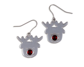 Rudolph earrings – Lovely Rudolph the red nosed reindeer  drop earrings -Made in UK