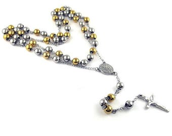 Rosary Bead Gold Silver Colour Stainless Steel HIGH QUALITY Rosary Bead Crucifix Cross Necklace Chain  31.5 inch