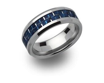 Blue Carbon Fiber Tungsten Carbide 8mm Men's /Women's Ring Band Sizes 6-15 -8mm - Comfort fit