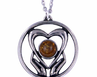 Amber Holding onto love Pendant Necklace- Hand Made in UK