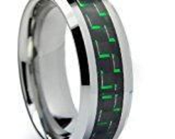 8 mm  Green & Black Carbon Fiber Tungsten Carbide Men's /Women's Ring Band Sizes 6-15 - Comfort fit
