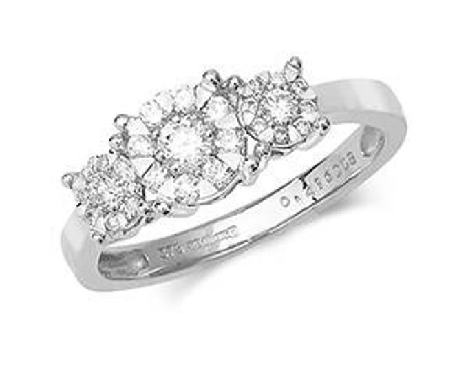 9ct Wedding Trilogy 0.41ct Diamond White Gold Diamond- British Hallmark