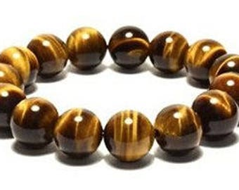 "Tiger's Eye Golden Gemstone Stretch Bracelet 7""- 7.5"" Available in 8 & 10 mm Round Beads-Golden Brown (Unisex)"