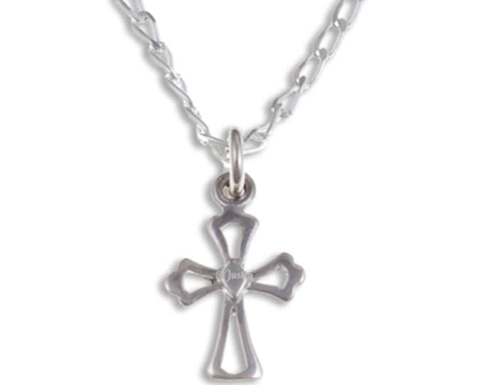 Sterling silver Fleur de Lis cross - lovely small Sterling silver cross on a 16″ sterling silver curb chain.- Hand Made in UK