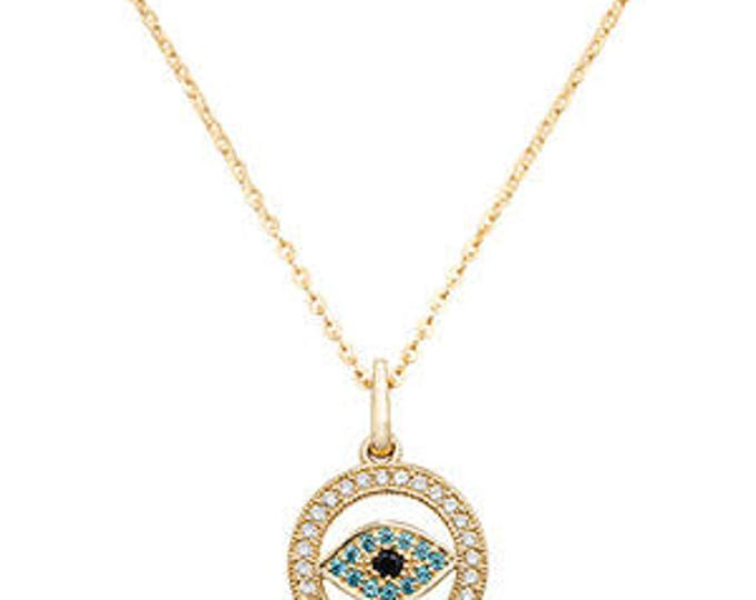 9ct GOLD Eye Necklace Pendant  Cubic Zirconia /CZ with 18 inches Chain