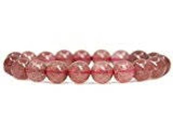 "Genuine Strawberry Rose Quartz  Natural Gemstone 7""- 7.5"" Stretch Bracelet Available in 8 & 10 mm Round Beads-Unisex"