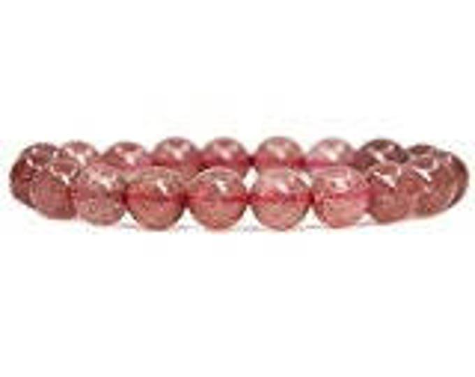 "Genuine Strawberry Rose Quartz  Natural Gemstone 7""- 7.5"" Stretch Bracelet Available in 8 & 10 mm Round Beads-Unisex"