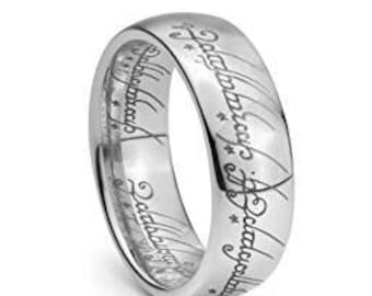 Elvish Script Wedding Band Ring Unisex  Plain Tungsten Carbide Men & Women Laser-etched - 7mm
