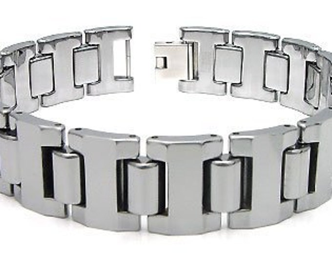 16MM Bracelet Tungsten Carbide High Polished Link Men's Unisex Bracelet Jewel