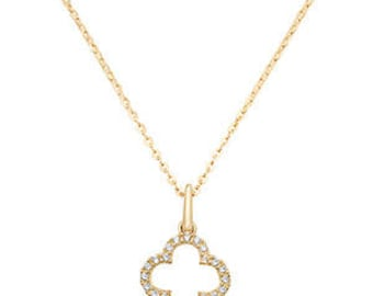Cute 9ct GOLD Necklace Pendant  Cubic Zirconia /CZ with 18 inches Chain