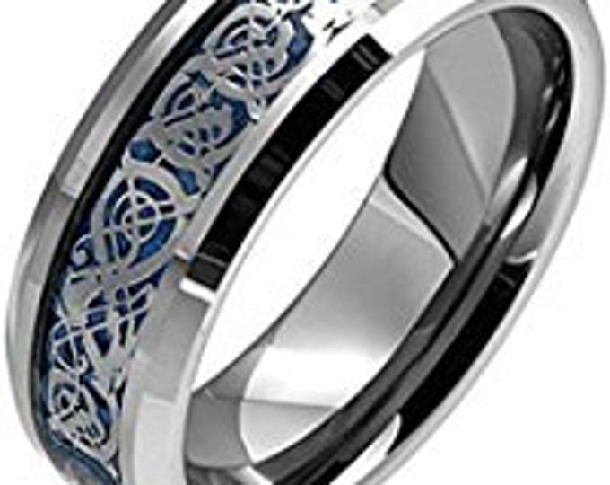 8 mm Blue Celtic Flat Shape Tungsten Ring Wedding Band - Comfort fit