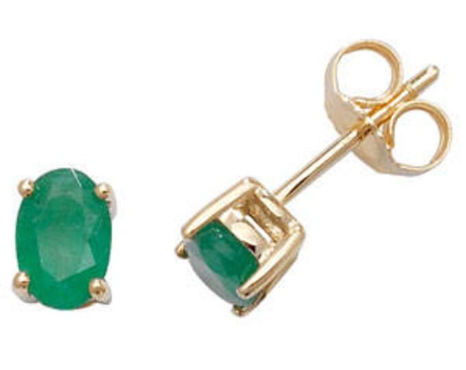 Emerald CLAW SET Stud Earring May Birthstone