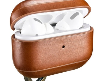 Apple AirPods Pro Case Ring Buckle Version Retro Earphone Protective Leather Case Wireless Charging-  Brown or Red - Brand ICarer