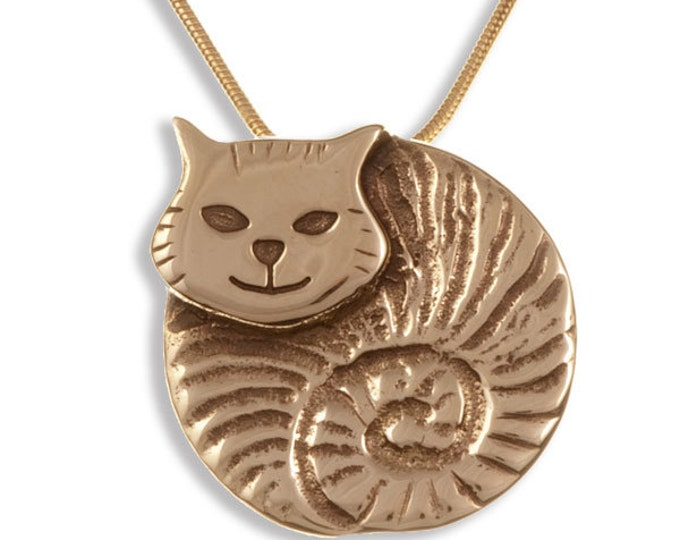 Embossed and polished bronze fat cat pendant on a gold-plated snake chain- Ideal Gift For Animal Lover- Anniversary or Just For You