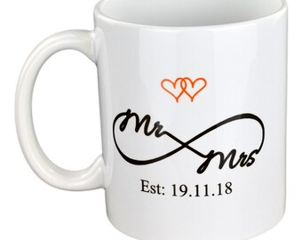 Personalised Hearts and  Eternity Sign Mr & Mrs- Ideal Gift For Wedding -Anniversary