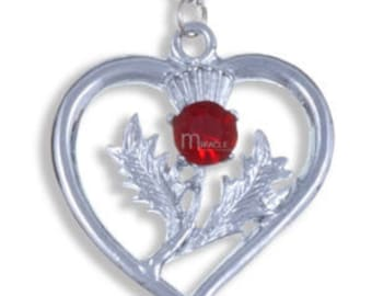 Heart Thistle Pendant with Ruby Stone- Made in UK