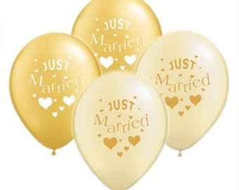 Just Married Balloons in Gold- Ivory- Silver- White- Purple- Suitable for Helium or Air.