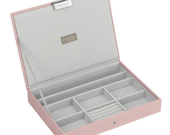 Stacker Storage Jewel Soft Pink Lidded Classic Jewellery Box with Grey Spotted Lining