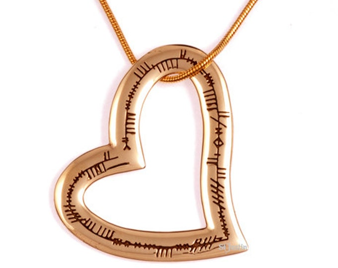 Highly polished bronze ogham heart love pendant- Hand Made in UK