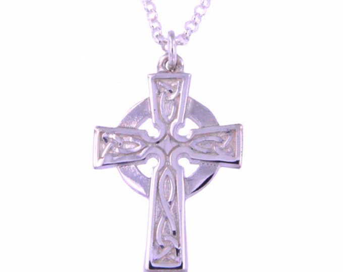 Sterling silver St Petroc cross with embossed detail on sterling silver belcher chain- Hand Made in UK