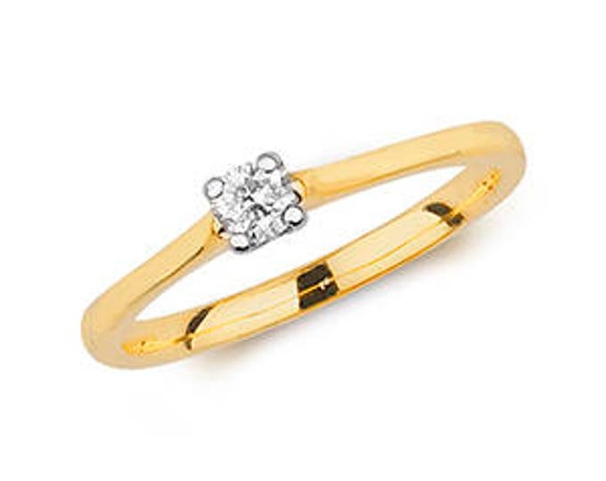Diamond 4 Claw SOLITARE Yellow Gold Wedding  Ring Band