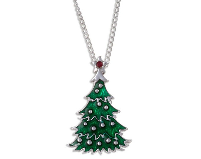 Pewter  Green  Christmas Tree Pendant Necklace- Made and Design in UK