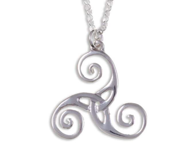 Triscele silver pendant – Sterling silver triscele with cut out - Hand Made in UK