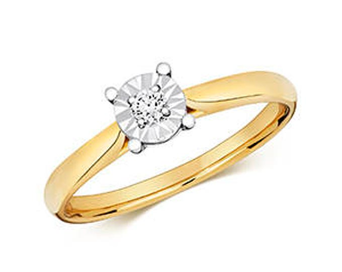 Diamond ILLUSION SOLITAIRE Round Yellow Gold Wedding  Ring Band
