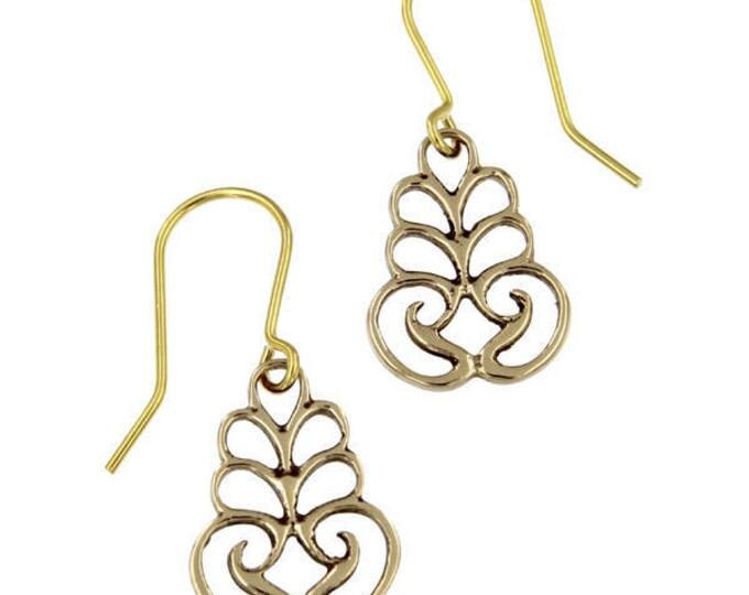 Scroll Drop Earrings – bronze  Hand Made in UK