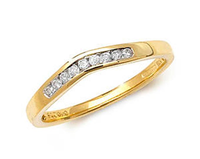Diamond Wishbone Yellow Gold Ring