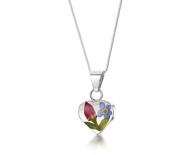 """Silver Heart pendant made with Rosebud & real forget-me-nots - flowers -  18"""" silver chain - Hand Made in UK"""