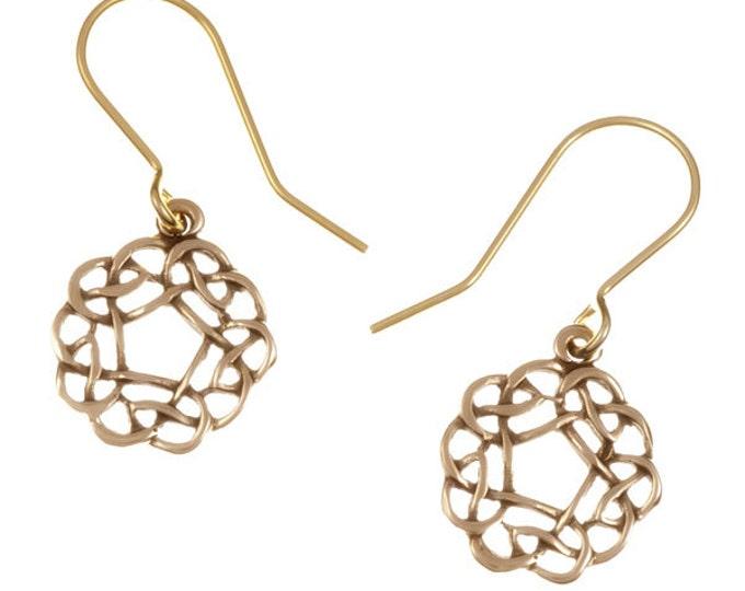 Pentagon knot drop bronze earrings - Hand Made in UK