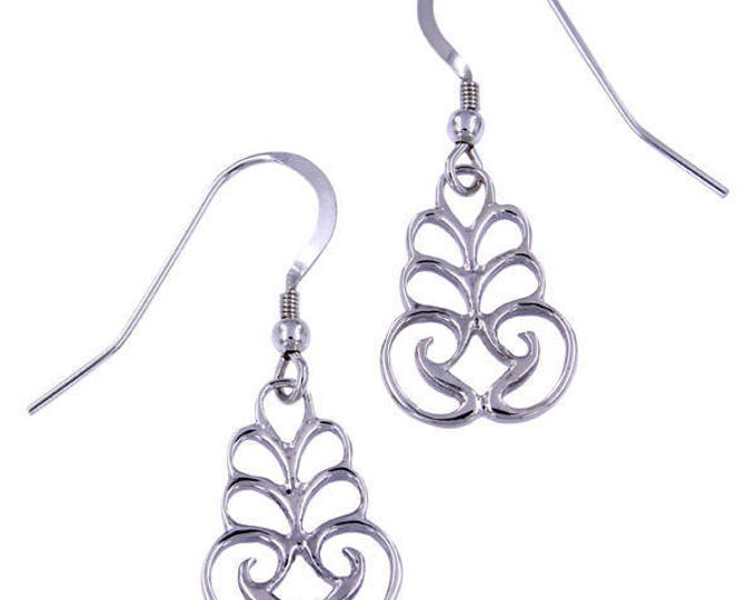 Silver Scroll Drop Earrings –  Hand Made in UK