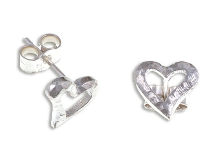 Heart stud earrings small – textured open hearts with sterling silver - Hand Made in UK
