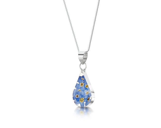 """Silver TEARDROP pendant made with real forget-me-nots - flowers -  18"""" silver chain - Hand Made in UK"""