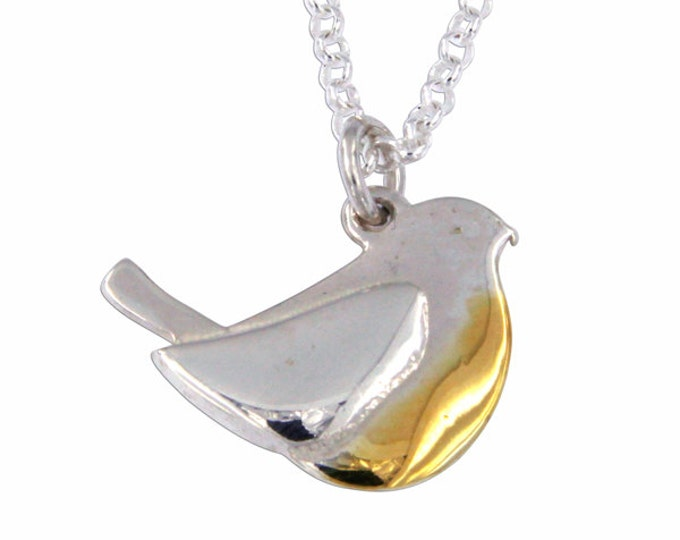 Silver robin pendant Sterling silver robin pendant with gold-plated chest- Made in UK