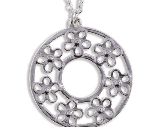 Flower Circle  Sterling Silver Pendant -Hand Made in UK