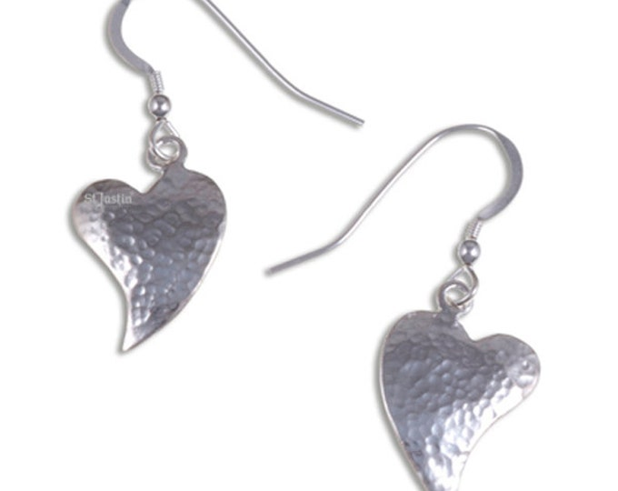 Hammered heart drop earrings – slightly convex - Hand Made in UK