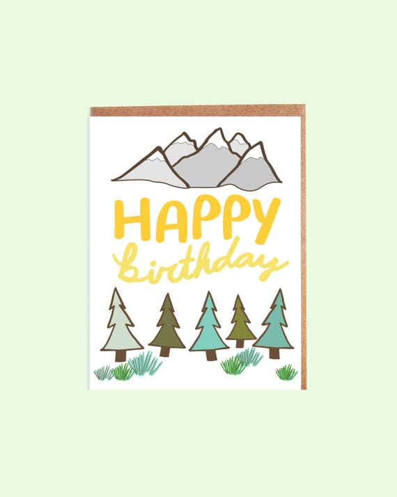 Mountain Adventure Birthday Card 015c Greeting Card Birthday Etsy