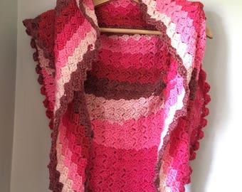 Multi Pink Shawl/wrap. Crochet shawl. Crochet scarf. Shawl. Triangle shawl.