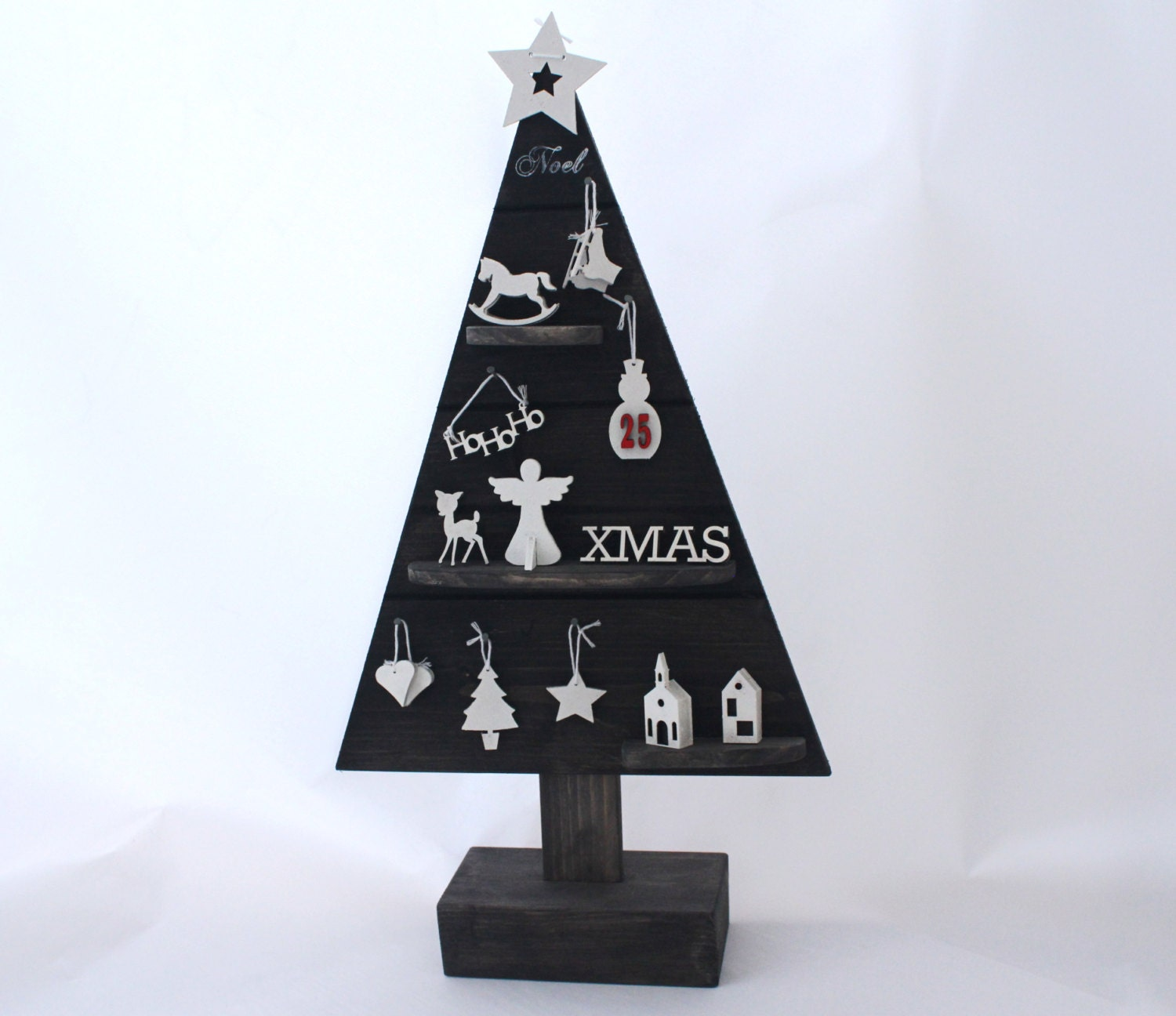 Reduced Price Wooden Christmas Tree With Ornaments