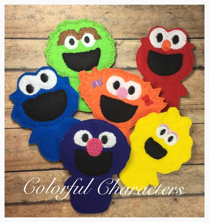 Sesame Street inspired felt finger puppet set, party favors, made to order,  pretend play, therapy toys, occupational therapy