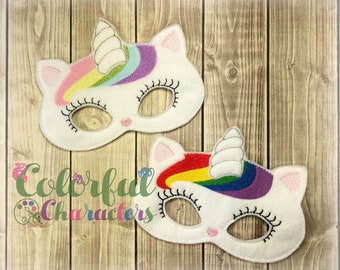 Caticorn Felt mask, party favors, halloween, dress up, made to order