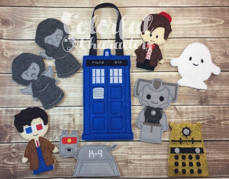 pretend play stocking stuffers easter basket gifts made to order felt toys Dr Who inspired finger puppet set