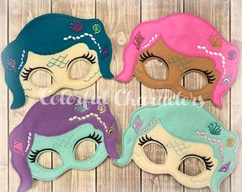 Mermaid masks, felt, party favors, mermaid party, birthday, halloween, dress up, made to order
