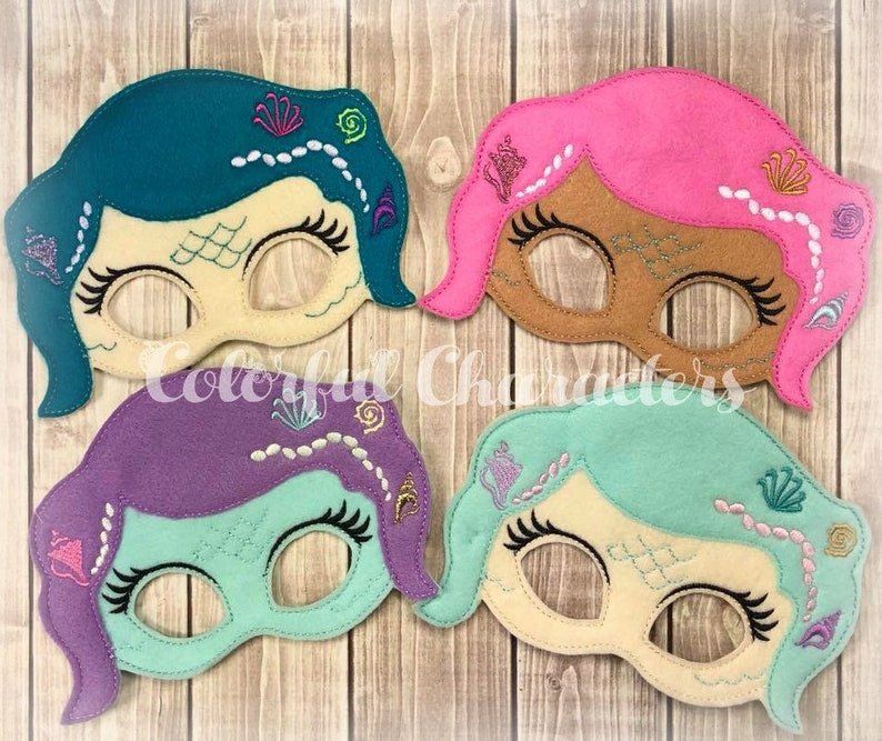 Mermaid masks halloween felt dress up birthday mermaid party made to order party favors