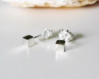 Cube Earrings Sterling silver, small stud earrings, minimalist earring, cube stud earrings, gift for her, earrings geometric, cubic