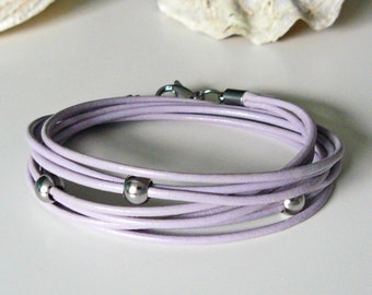 Leather bracelet pastel purple, bracelet purple, wrap bracelet, genuine leather bracelet, leather wrap bracelet, triple wrapped, gift, gifts for her